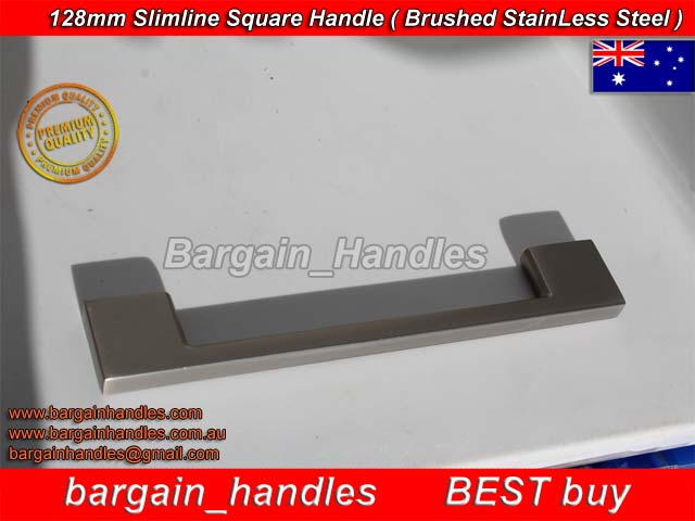 [128mm Slimline Square Handle with a Brushed Stainless Steel Finish]