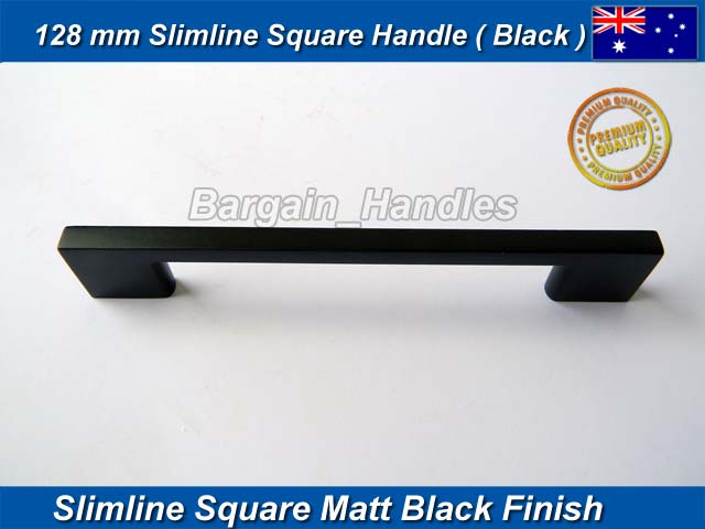 [128mm Slimline Square Handle Matt Black]
