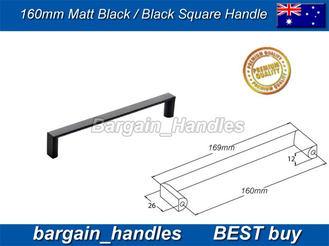 [160mm Square Handle Matt Black]