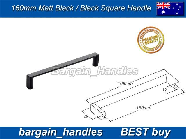 [160mm Square Handle Matt Black]