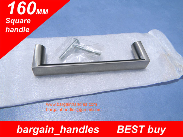 160mm Square Handle / D-Square With a Brushed Satin Nickel Finish