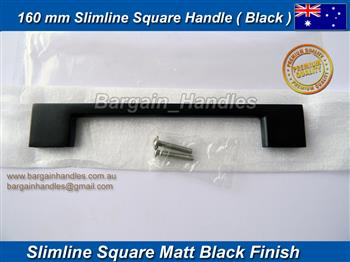 Matt Black slimeline Square Handle / D-Square