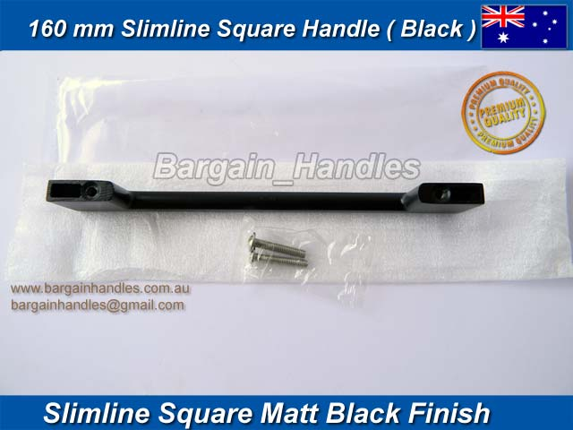 [160mm Slimline Square Handle Matt Black]