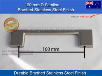 Brushed Stainless Steel slimeline Square Handle / D-Square