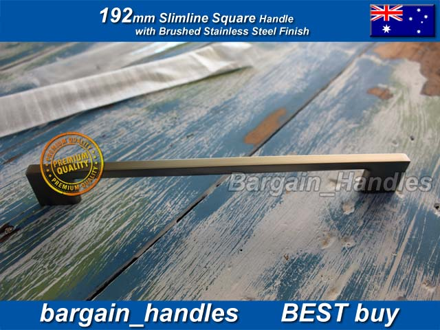 [192mm Slimline Square Handle Brushed Stainless Steel]