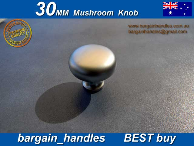 30mm Mushroom Knob Finish in Satin Chrome Solid Metal
