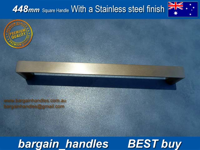 [448mm Square Handles Finished in Brushed Stainless steel Finish]