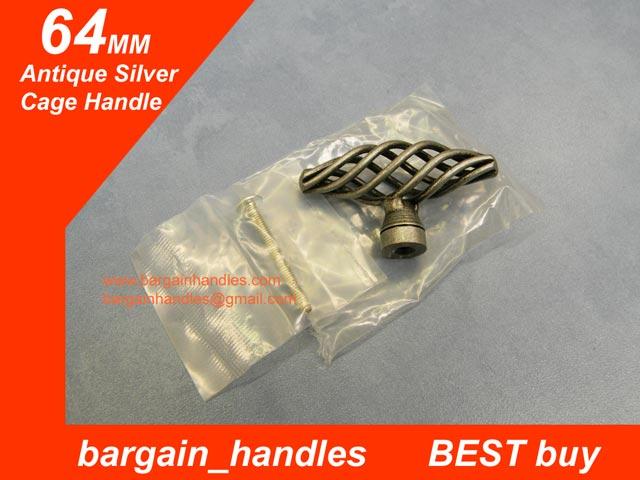Antique Silver 64mm Cage Handle/Knob