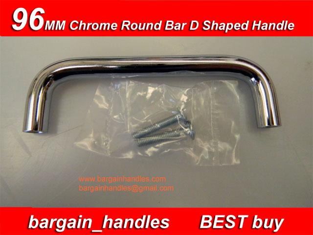 96mm Chrome Round Bar D Shaped Handle