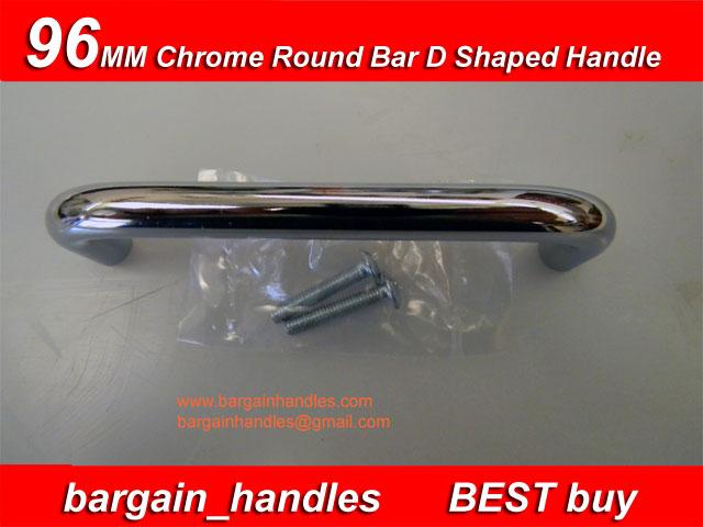 [96mm Chrome Round Bar D Shaped Handle ]