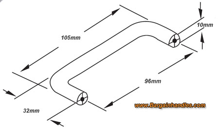 Specs for 96mm Chrome Round Bar D Shaped Handle