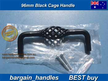 96mm Vintage bird cage twist iron Black D - handles