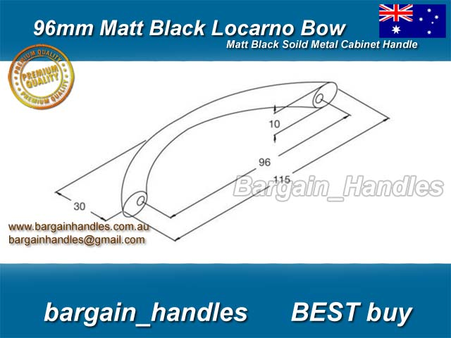 [96mm Matt Black Locarno Bows]