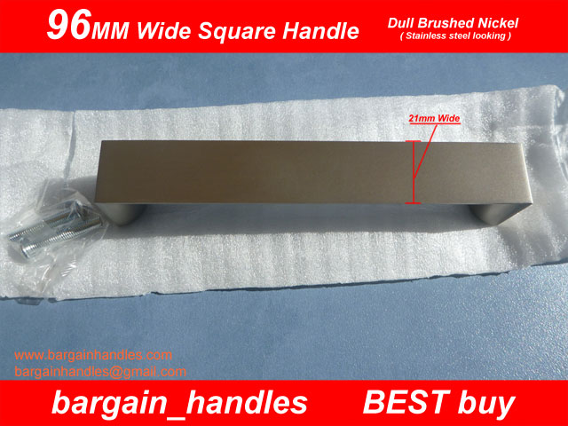 96mm Wide Square Handle Dull Brushed Nickel (Brushed Stainless Steel Finish)