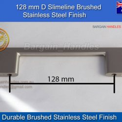 Kitchen Doors Replacement Handles 128mm Slimline BSS D-Square
