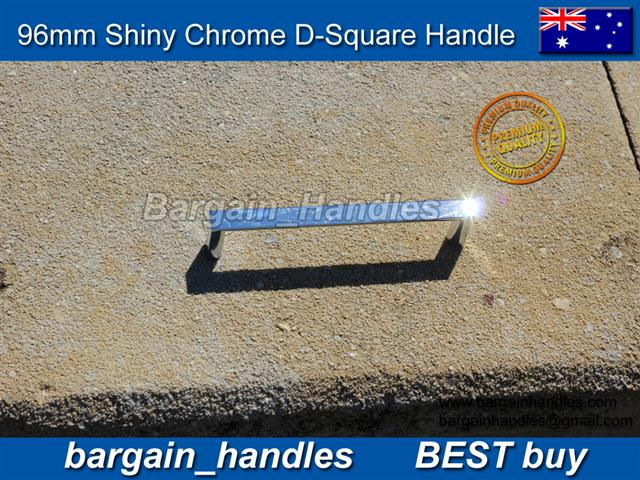 96mm Polished Chrome D-Square kitchen cabinet door Handle