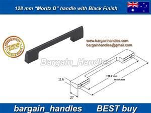 128mm Moritz D Handle Matt Black/Black Finish