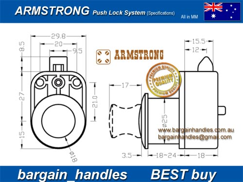 Armstrong Caravan Push Knob With Latch