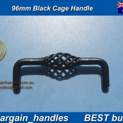 French Provincial Black 96mm Black Basketweave Cage Wrought Iron D Handle