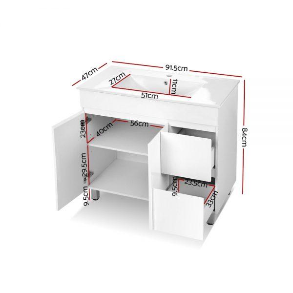 Cefito Bathroom Vanity Cabinet Unit Wash Basin Sink Storage Freestanding 900mm White