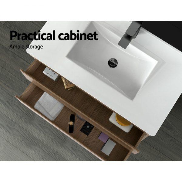 Cefito Bathroom Vanity Cabinet Basin Unit Sink Storage Wall Hung Oak White 900mm